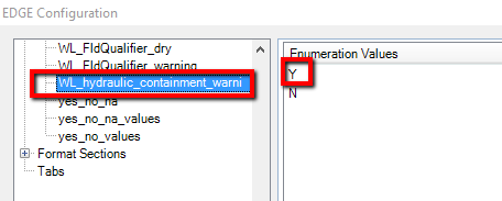 Enumeration for Hydraulic Containment Option, Selected in EDGE Plugins