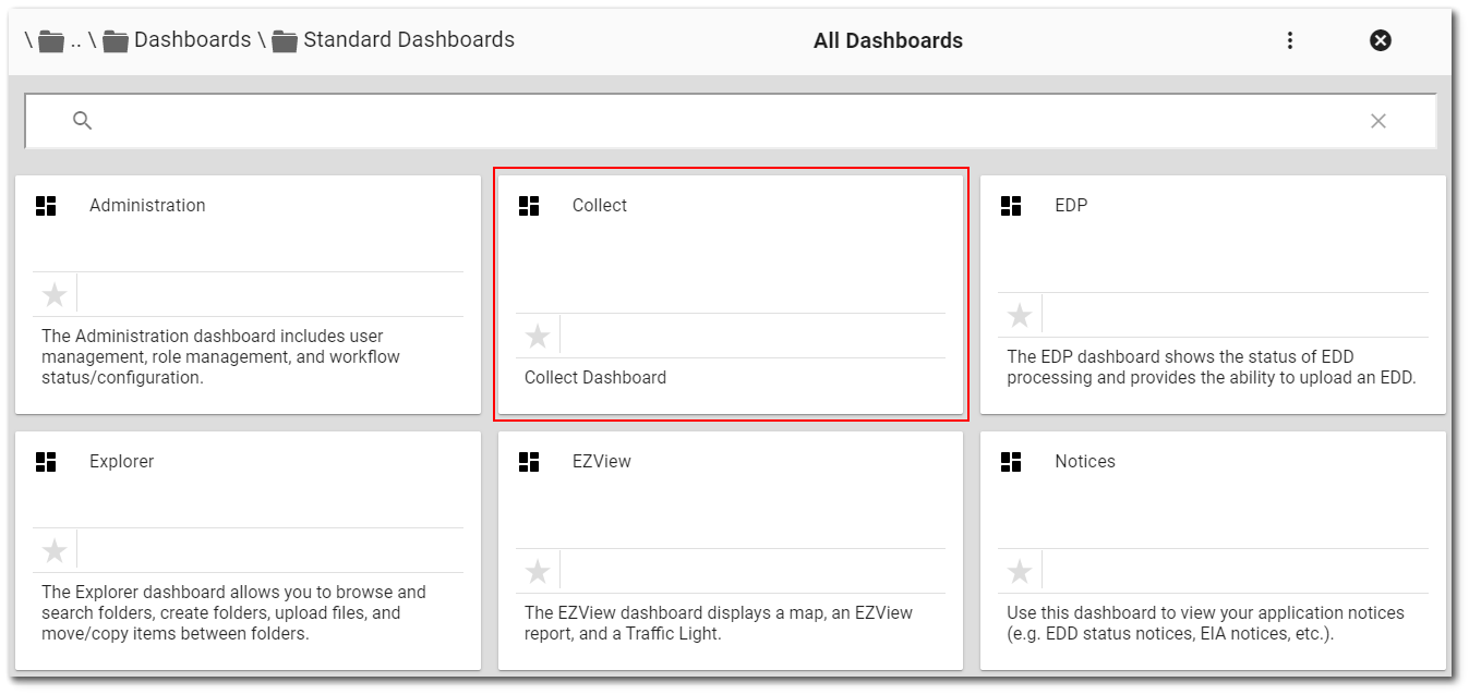 Select the EQuIS Collect dashboard